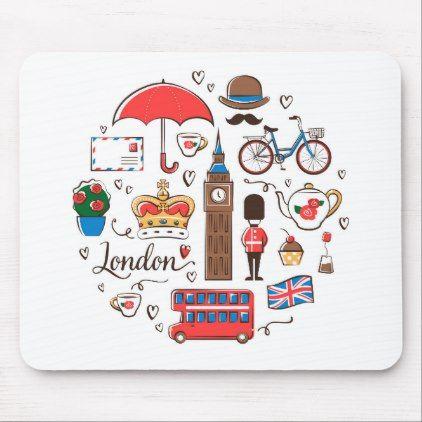 London Doodles Mouse Pad Zazzle Com Doodles Travel Doodles Bullet Journal Themes