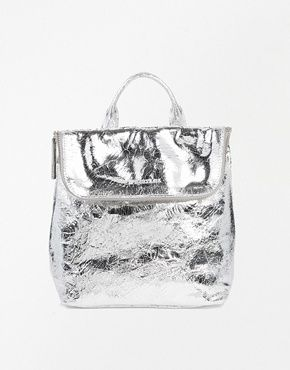 this shiny silver backpack reminds me of york peppermint patties, in the best way. Whistles Mini Verity Backpack, Asos