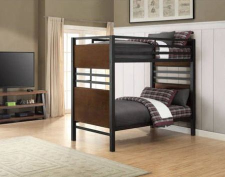 Better Homes And Gardens Mercer Twin Over Twin Metal Bunk Bed Decorative Faux Wood Finish Metal Bunk Beds Twin Bunk Beds Bunk Beds