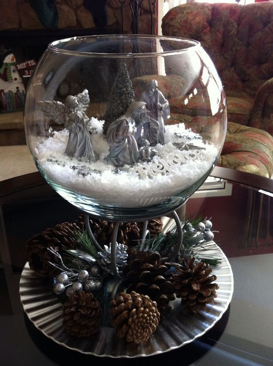 Nativity walmart and figurine on pinterest for Plastic fish bowls dollar tree