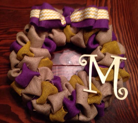 School or sport themed burlap wreath by GunnyandGrove on Etsy