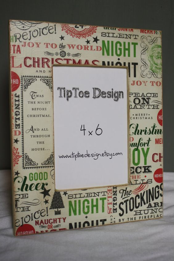 4X6 Christmas frame by TipToeDesign on Etsy, $12.00