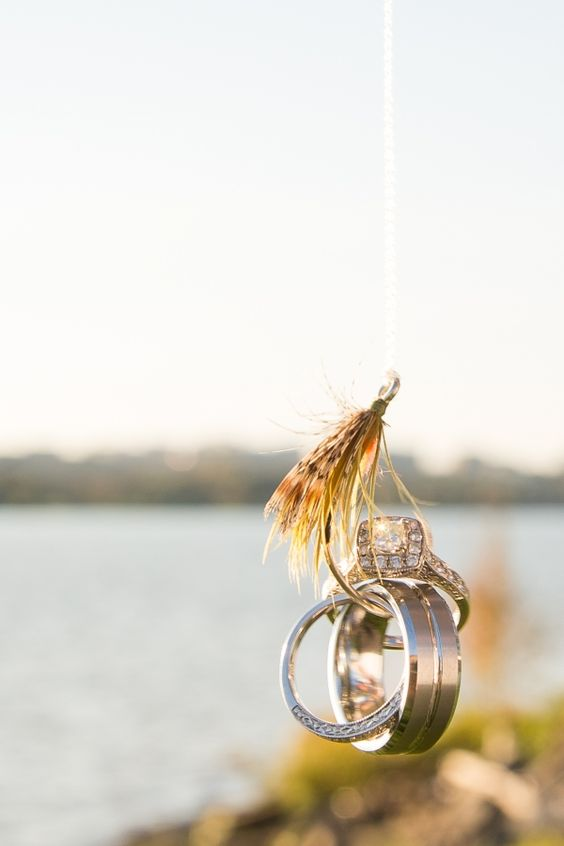 Fly fishing hook wedding ring shot picture ideas for Fishing wedding band