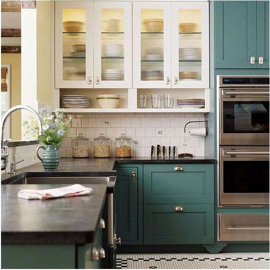 Two tone kitchen cabinets!