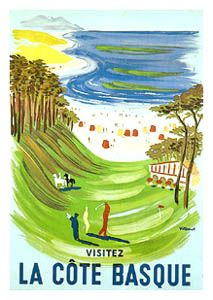 LA COTE BASQUE Vintage Golf Poster Reprint - Basque Coast, France - Sun, sand, and golf on the Basque Coast! This amazing poster reprint, originally produced in the classic era of French poster design to promote travel to the Atlantic coast. - available at www.sportsposterwarehouse.com