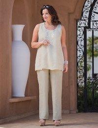 Plus size Box 2 beige fine linen vest and trouser