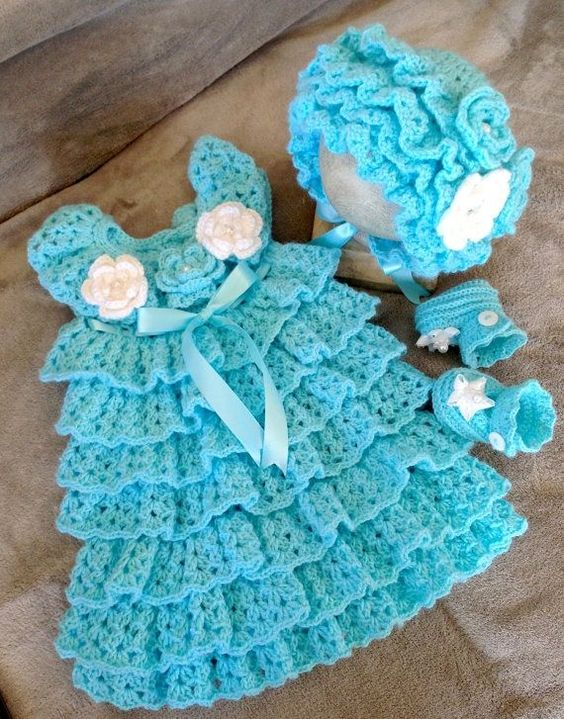 Free Crochet Pattern For Christmas Dress : Crochet baby dresses, Crochet baby dress pattern and Baby ...