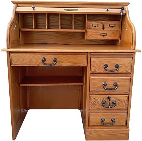 New Small Student Roll Top Desk Solid Oak Wood Single Pedestal