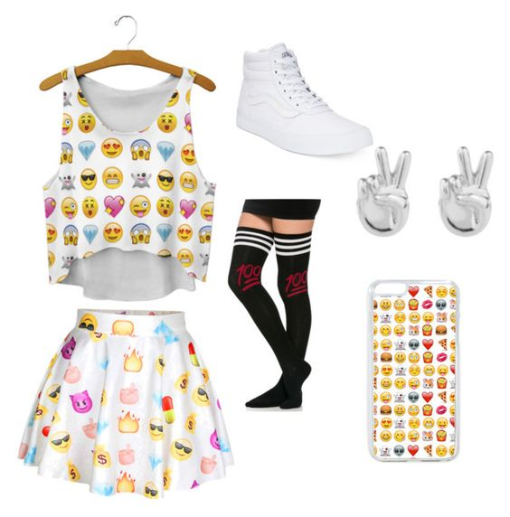 Emoji day by rosewrice10 on Polyvore featuring polyvore, mode, style, Vans, Rock 'N Rose, fashion and clothing