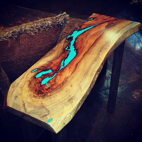 Wood top with epoxy fill for highlight   Like's for me ...