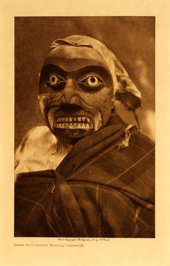 Edward S. Curtis - Mask of an Octopus Hunter [Qagyuh] C. 1905: