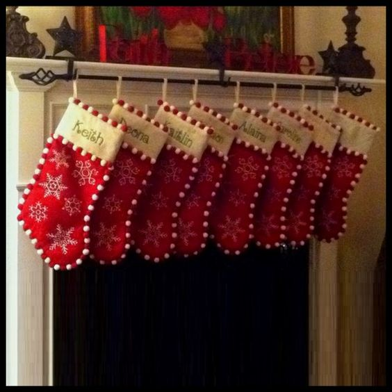 Curtain Rod As Stocking Holder - what a smart idea!!