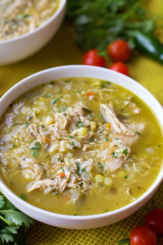 ... hatch chile stew is loaded with shredded chicken, fresh corn, rice and