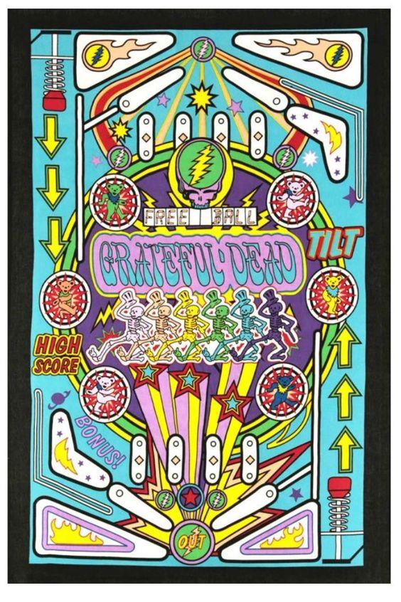 3D Grateful Dead Pinball Machine Tapestry features black light reactive. Artwork by Mackerel Graphics.  Dimensions: 60 x 90 inches.  Pinball Machine Tapestry by A Little Bit Hippy. Home & Gifts - Home Decor - Wall Art Roanoke Virginia