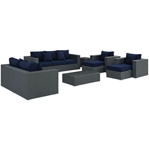 Sojourn Navy Fabric Synthetic Rattan 9pc Outdoor Patio Sofa Set