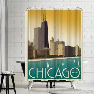 East Urban Home Chicago Modern Skyline Single Shower Curtain