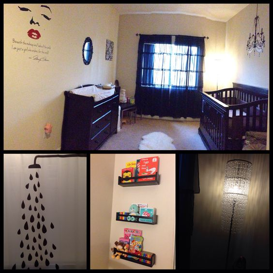 A starlet's dressing room: modern baby nursery on a budget...black accents, decals from Target and Amazon, faux fur rug, table, shower curtain and shelves from IKEA, crib and dresser via Babies R Us, sheer ruffle curtains and beaded lamp from Target! #nursery #DIY