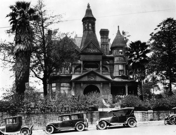 """The Bradbury Mansion in Los Angeles, CA - Occupied for years by various film companies and onetime home to Hal Roach's Rollin Film Company. It was so drafty that Harold Lloyd dubbed it """"Pneumonia Hall"""". c. 1927  (Sadly, it was demolished in 1929.)"""