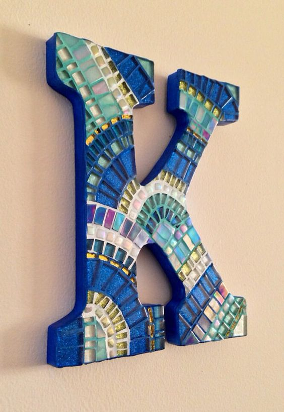 Personalized Wall Decor Letters : Initials turquoise and mosaics on