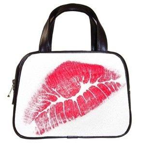 Red Lips Lipstick Black Classic Handbag