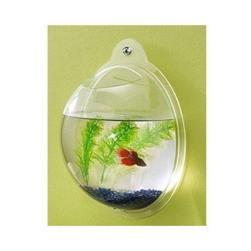 Wall mount betta fish bowl by ddplastics on etsy for Bubbles in betta fish tank