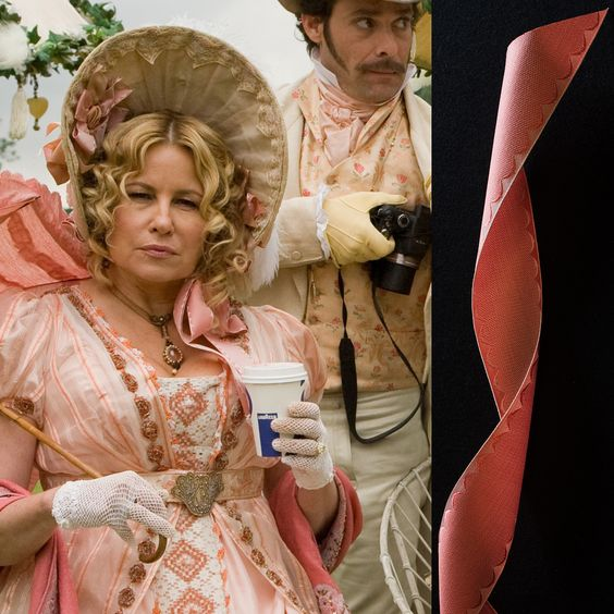 Austenland 2013, Miss Elizabeth Charming (Jennifer Coolidge) wears bonnet trimmed with Papilionaceous jacquard silk ribbon