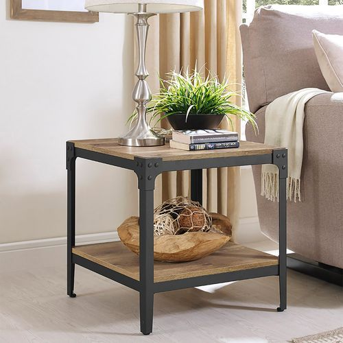 Barnwood Angle Iron Rustic Wood End Table Set Of 2 Rustic End Tables Iron Accent Table Wood End Tables