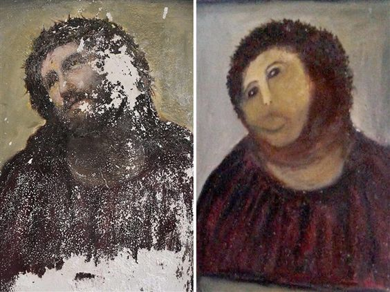 Woman who ruined Spanish artwork says priest knew she was painting on it - TODAY Entertainment