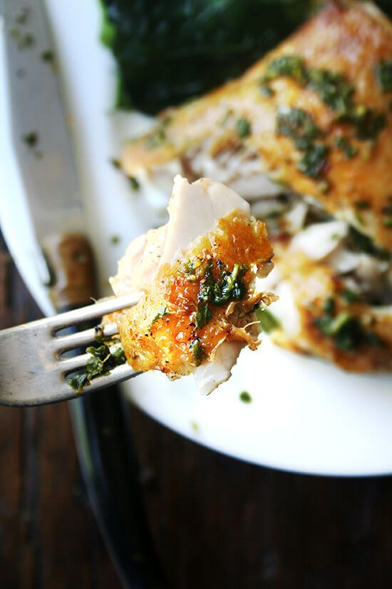 crispy roast chicken with herb sauce alexandra s kitchen recipe chicken recipes dinner dishes herb sauce pinterest