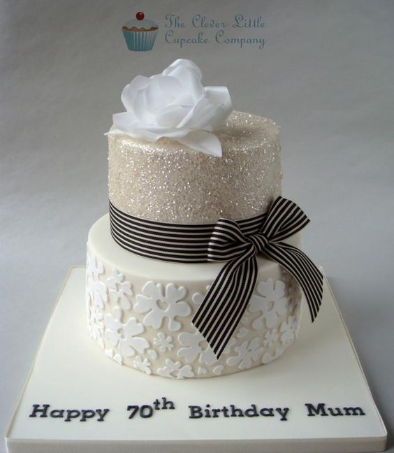 Glittery 70th Birthday Cake - Cake by The Clever Little Cupcake Company (Amanda Mumbray)