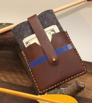 Leather & Wool iPhone Wallet
