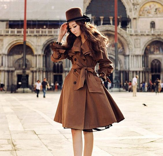 Women&39s brown Coat OL style suit Coat Long Coat Long jacket