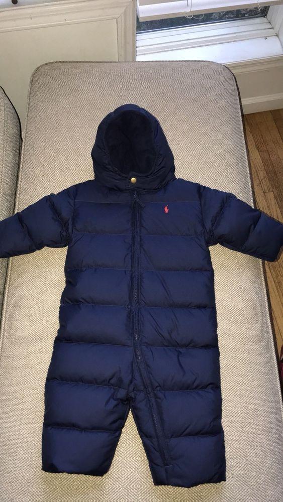 1c64829394071 Ralph Lauren Polo Blue Down Filled Snowsuit Bunting Boys New 18 Months