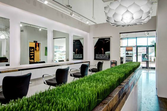 @getbelliata like the simplicity of this hair salon with white throughout and black salon chairs. The addition of the grass behind the chairs is a nice touch and softens the simplistic design.