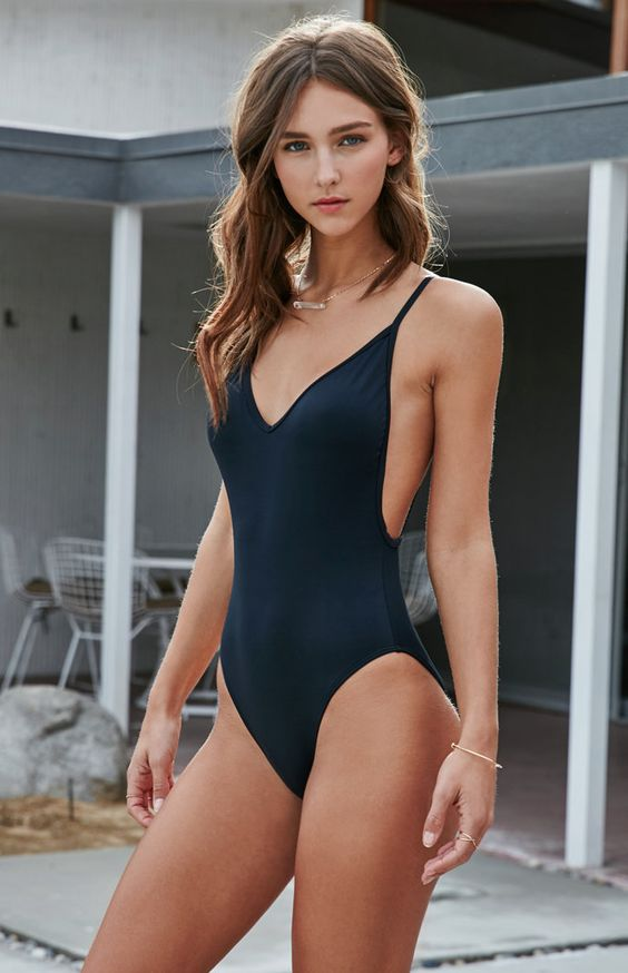 Pacsun Solid Low Back One Piece Swimsuit Swimsuits
