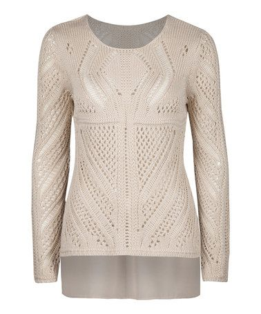 Love this Natural Crochet Hi-Low Sweater by Dex on #zulily! #zulilyfinds