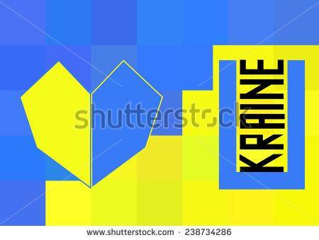 Ukraine flag in polygonal style. .  - stock vector