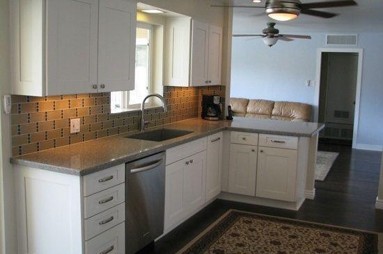 Phoenix Az Open Concept Galley Kitchen Renovation With Gray Quartz Counter Tops And White Cabinets Concretecountertopsmasterbath
