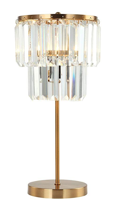 E Like Original Crystal Table Lamp With 1 Light Satin Gold Finish Long Strip Crystal K9 Crysta Table Lamps For Bedroom Lamps Living Room Crystal Table Lamps