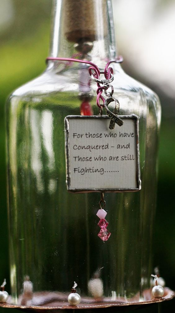 Tribute To Breast Cancer Chime - Courage is made from Stained Glass, Clear Bottle, Up-cycled Metal Piece and Beads.  Indoor/Outdoor Use