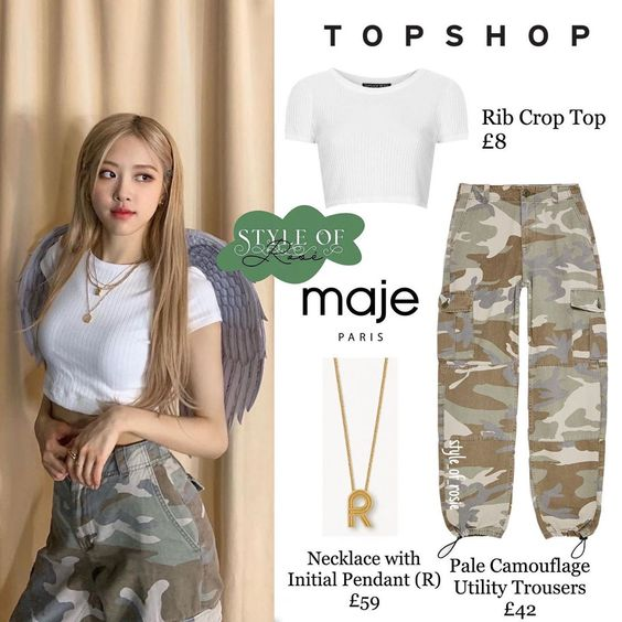 *⑅୨୧ 190530 ୨୧⑅* @roses_are_rosie update #BLACKPINK #ROSÉ ⠀ brand - TOPSHOP PETITE rib crop top pale camouflage utility trousers brand -…