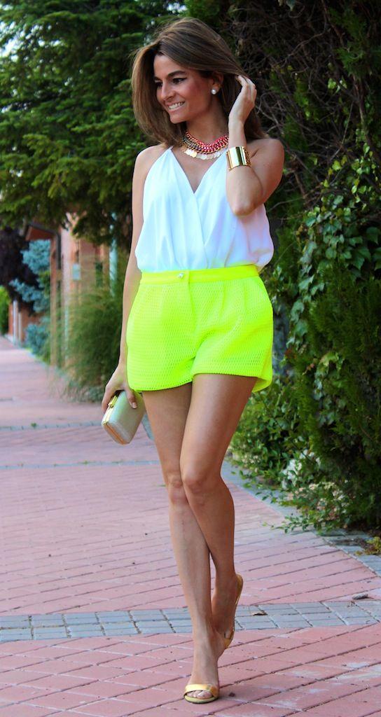 Short neon verde