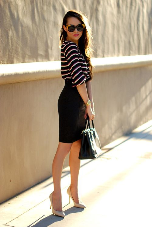 Work outfit: black pencil skirt, striped blouse: