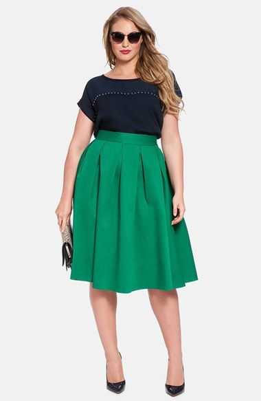 ELOQUII Full Midi Skirt (Plus Size) | Nordstrom: