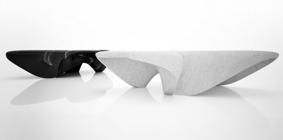 architecture moderne par Zaha Hadid - table basse en marbre de design futuriste