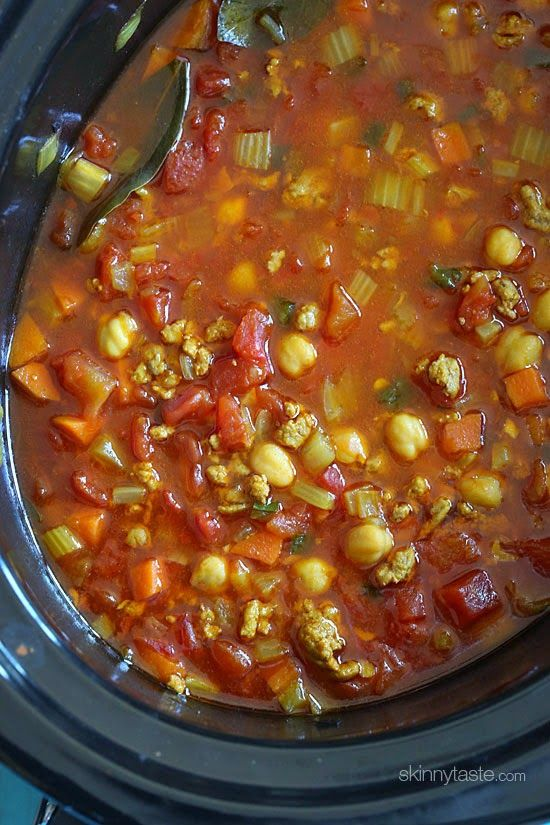 Slow Cooker Moroccan Chickpea and Turkey Stew | Skinnytaste