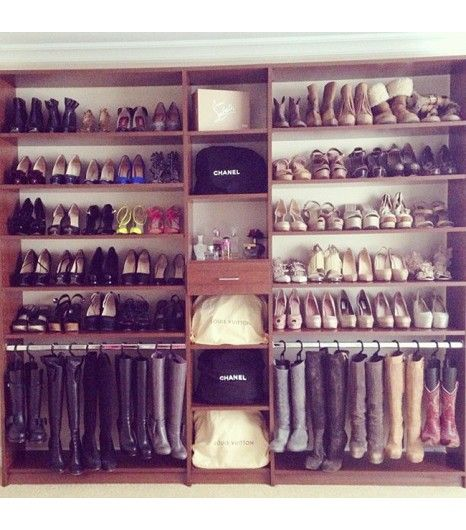 @Who What Wear - Left Hanging Boots, especially winter styles, can take up a lot of space in your closet, which is why we recommend hanging them. This method helps free up floor space, while also storing your boots safely and compactly.  Tip: Head over to The Container Store for various boot hangers.
