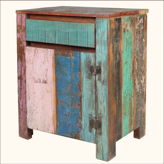 Add a touch of classic charm to your kitchen or bedroom with our Appalachian Rustic Multi-Color Old Wood Ice Box Cabinet.