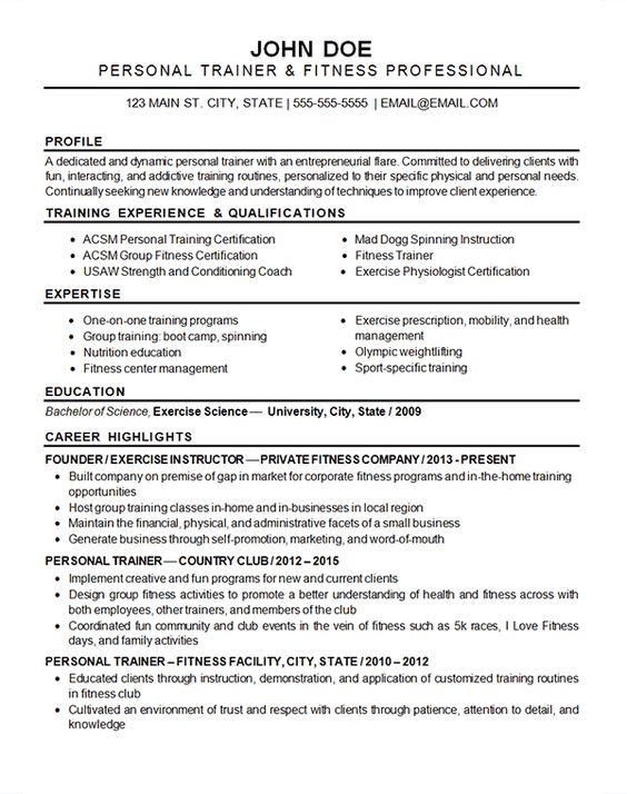 Sports Fitness Resume Example | Resume Examples, Resume And Fitness