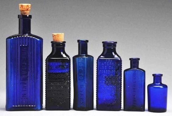 Cobalt Glass Medicine Bottles.: